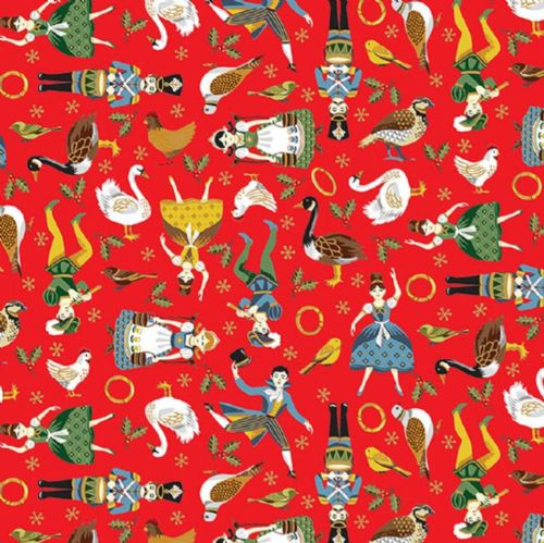 Makower - 12 Days of Christmas, Icons - Red Cotton Christmas Fabric